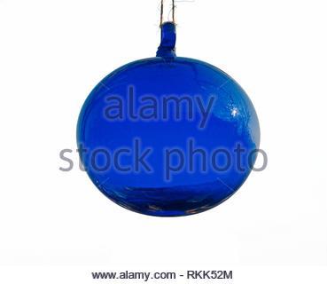 blue glass globe on white background. - Stock Photo