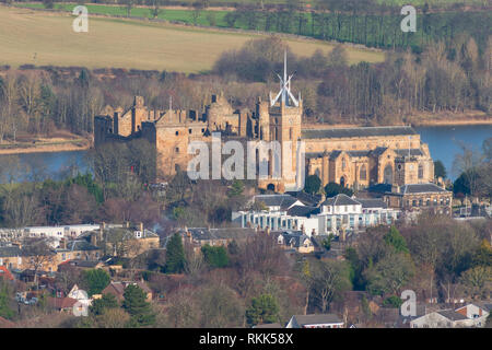 View of Linlithgow Palace in Linlithgow , West Lothian, Scotland, UK - Stock Photo