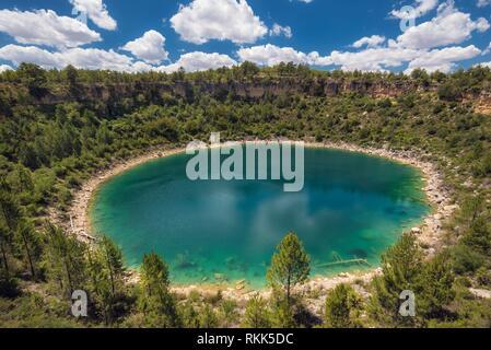Round lake geologic formation in Cuenca province, Castilla La Mancha, Spain. - Stock Photo