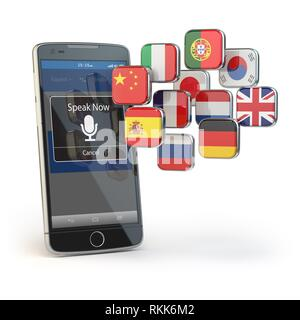 Mobile dictionary or translator concept. Learning languages online. E-learning. Smartphone with flags isolated on white. 3d illustration. - Stock Photo