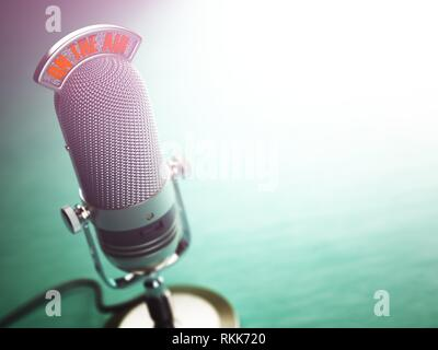 Retro old microphone with text on the air. Radio show or audio podcast concept. Vintage microphone. 3d illustration. - Stock Photo