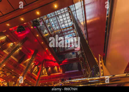 VENEZIA ITALY - OCTOBER 21 2018: View from inside of the decks of the cruise ship Costa Deliziosa - Stock Photo