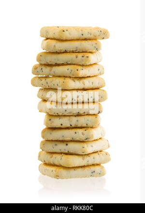 Stack of square crackers isolated on a white background. - Stock Photo