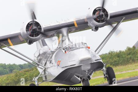 LEEUWARDEN, NETHERLANDS - JUNE 11: Consolidated PBY Catalina in Dutch Navy colors flying at the Royal Netherlands Air Force Days June 11, 2016 in - Stock Photo
