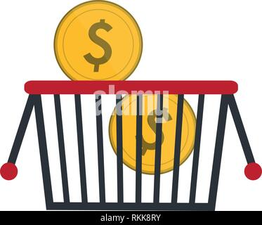 shopping basket with coins - Stock Photo