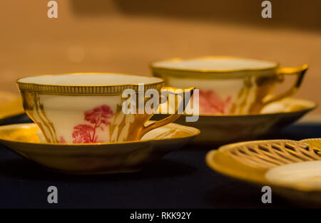 Saint-Petersburg, Russia - August 12, 2016: Stone vases of ancient masters The pride of sculptors and stone and metal processing technology. Paintings - Stock Photo