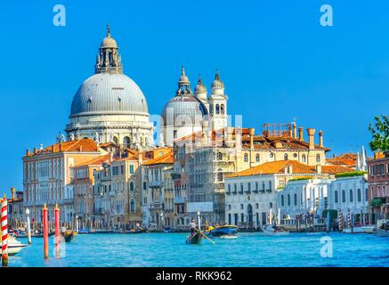 Grand Canal Santa Maria della Salute Church from Ponte Academia Bridge Gondolas Venice Italy. - Stock Photo