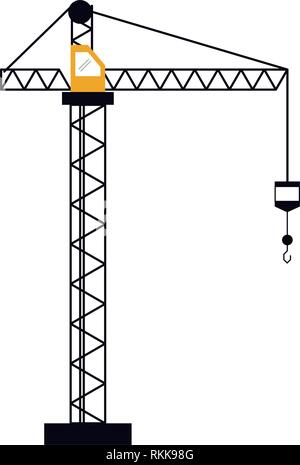 Construction crane with hook tower - Stock Photo