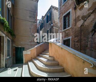 A bridge over a canal, Venice, Italy - Stock Photo