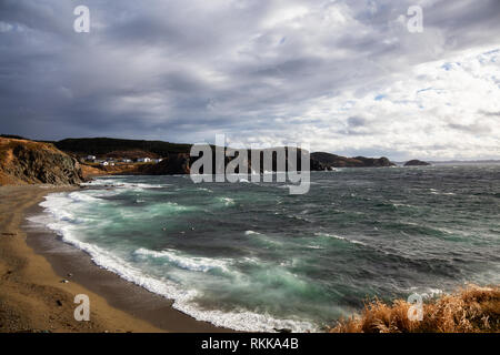Seascape view of a raging ocean on the Atlantic Coast during a stormy and windy day. Taken in Crow Head, North Twillingate Island, Newfoundland and La - Stock Photo