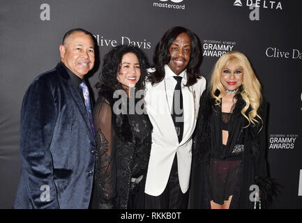 BEVERLY HILLS, CA - FEBRUARY 09: Ralph Johnson (L) and Verdine White (2nd R) of Earth, Wind & Fire and guests attend The Recording Academy And Clive D - Stock Photo