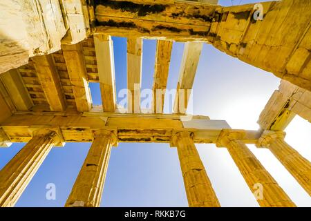 Propylaea Ancient Entrance Gateway Ruins Acropolis Athens Greece Construction ended in 432 BC. - Stock Photo
