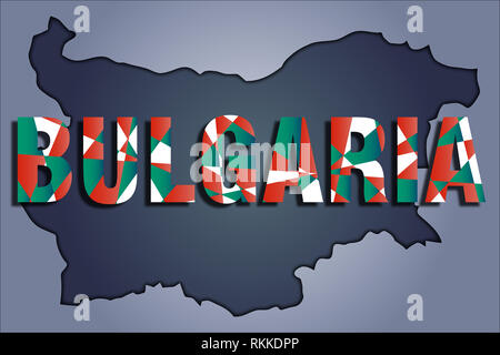 The contours of territory of Bulgaria in grey colours and word Bulgaria in colors of the oficial flag, red, green, white - Stock Photo