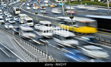 Controlled-access highway in Istanbul during rush hour.. - Stock Photo