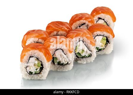 A few pieces of Philadelphia sushi rolls isolated on a white background. Reflection. - Stock Photo