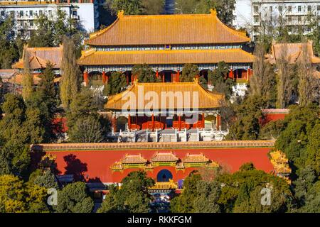 Jingshan Park Looking North at Drum Tower Many Pavilions Beijing, China. Part of the Forbidden City, later a separate park, built in 1179. - Stock Photo