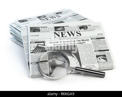 News. Loupe with periodic hot news newspapers isolated on white. 3d illustration. - Stock Photo