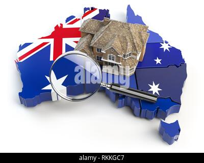 House and loupe on the map of Australia in colors of australian flag. Search a house for buying or rent concept. Real estate development in - Stock Photo