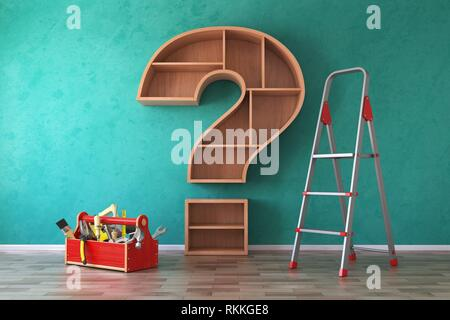 Toolbox with tools, ladder and bookshelf in form of question mark. Renovation, construction and improvement FAQ concept. 3d illustration. - Stock Photo