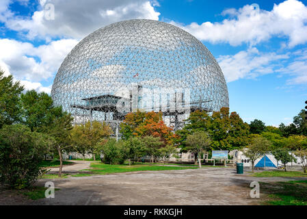 Montreal, Canada - September 28 2018 :  view of Montreal Biosphere environment museum at Parc Jean-Drapeau in Montreal, Quebec, Canada. - Image - Stock Photo