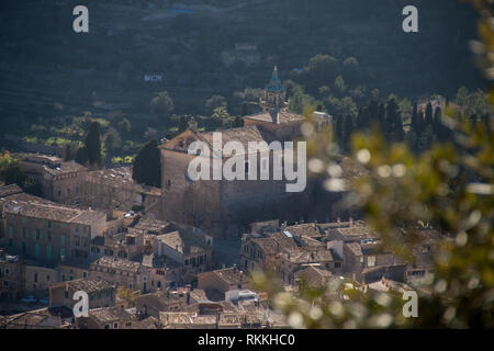 Panoramic view from the top on the church Parroquia de Sant Bartomeu and village Valldemossa, Mallorca - Stock Photo