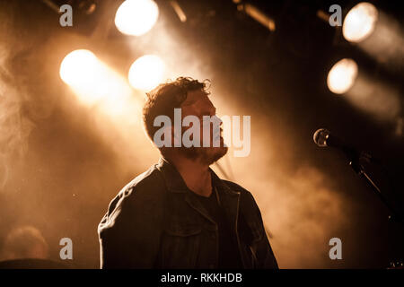 The American band The Lone Bellow performs a live concert at VEGA in Copenhagen. Here musician Brian Elmquist is seen live on stage. Denmark, 05/02 2016. EXCLUDING DENMARK. - Stock Photo