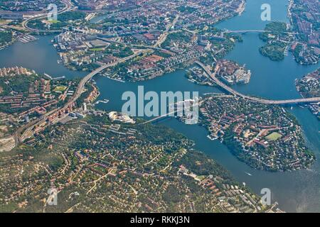 Aerial shot over Stockholm, Essingeleden and Traneberg bridge to Bromma, during inflight to Arlanda airport on a sunny day in June in Stockholm, - Stock Photo