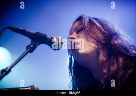 The American band The Lone Bellow performs a live concert at the Danish music festival Jelling Festival 2016. Here singer and musician Kanene Donehey Pipkin is seen live on stage. Denmark, 28/05 2016. EXCLUDING DENMARK. - Stock Photo