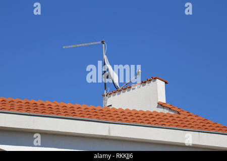 TV antenna and satellite dish mounted on roof. - Stock Photo