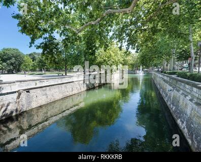The garden jardin de la Fontaine in Nimes. Gard, Provence, France, Europe. - Stock Photo