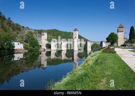 Valentre bridge in Cahors, Lot department, Occitanie, France. - Stock Photo