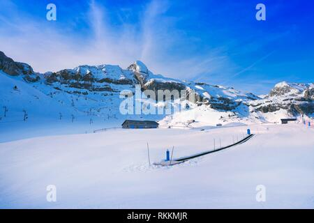 Candanchu ski in Huesca on Canfranc Pyrenees at Spain. - Stock Photo