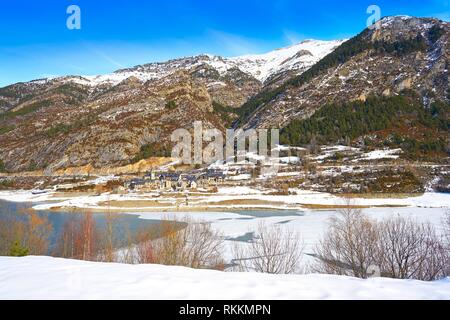 Lanuza village and reservoir in Pyrenees of Huesca of Spain. - Stock Photo