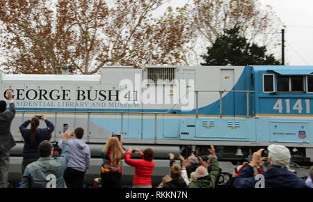 Former President George H.W. Bush funeral train passes through Tomball, Texas on its route to his presidential library at College Station. Stock Photo