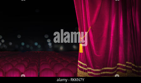 The red curtains are opening for the theater show - Stock Photo