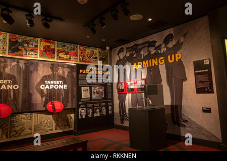 Target: Public Enemies display, The Mob Museum, Las Vegas (City of Las Vegas), Nevada, United States. - Stock Photo