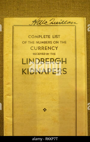 Lindbergh ransom pamphlet from the Charleston National Bank, The Mob Museum, Las Vegas (City of Las Vegas), Nevada, United States. - Stock Photo