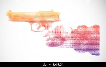 Pistol in hand, isolated on white background. - Stock Photo