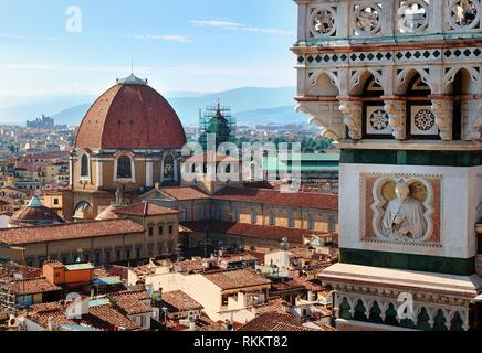 Beautiful landscape above urban and historical view of the Florence. - Stock Photo
