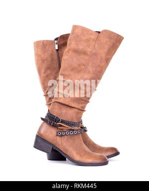 Women's high leather boot isolated on white background. - Stock Photo