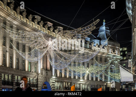 Regents street decorated for 2017 Christmas, London - Stock Photo