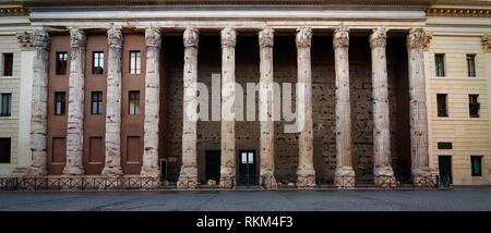Temple of Hadrian in Piazza di Pietra in Rome, Italy. - Stock Photo
