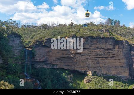 Katoomba, Australia- April 15, 2017: View towards Scenic Skyway over Jamison Valley and Katoomba Falls in Katoomba, Blue Mountains, New South Wales, - Stock Photo