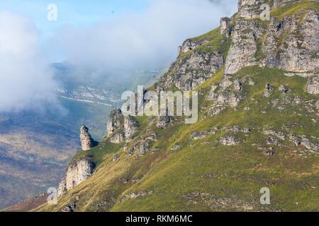 View from Mirador de Covalruyu, Miera Valley, Valles Pasiegos, Cantabria, Spain, Europe.