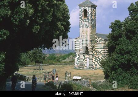 San Michele de Murato Romanesque Church (1280), near Murato. Northern Corsica Island, France - Stock Photo