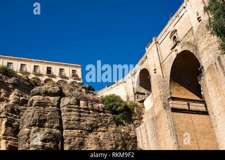 Puente Nuevo (New Bridge) over ´Tajo´ of Ronda, Malaga, Spain. - Stock Photo