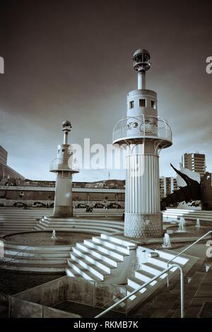 Parc de l´Espanya Industrial. Park designed by Luis Peña Ganchegui, 1985. Barcelona, Catalonia, Spain. - Stock Photo