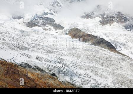 Fee glacier, Saas Fee, Wallis, Switzerland. - Stock Photo
