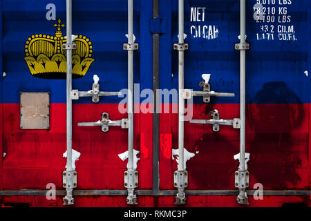 Close-up of the container with the national flag of Liechtenstein. The concept of Liechtenstein  export-import and national delivery of goods. - Stock Photo