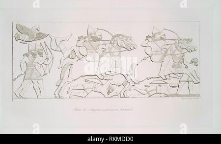 Assyrian warriors on horseback. Layard, Austen Henry, Sir (1817-1894) (Author). The monuments of Nineveh, from drawings made on the spot. By Austen - Stock Photo